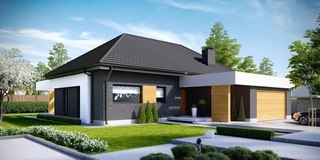 Casa moderna cu fatada neagra lemn si alb