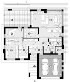 Plan casa parter cu 3 dormitoare si garaj proiect contamporan