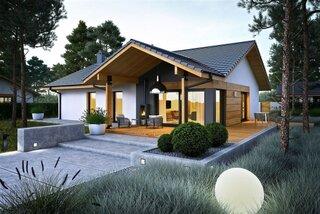 Casa moderna doar cu parter si terasa mare acoperita