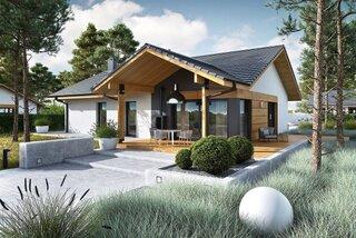 Casa moderna doar parter cu terasa acoperita lipita de casa