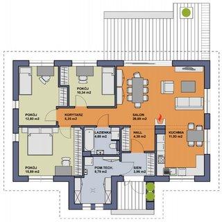 Plan parter casa cu 3 dormitoare si living