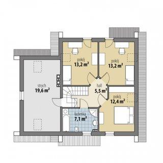 Plan mansarda casa P+M cu 3 dormitoare