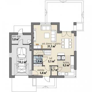 Plan parter casa P+M cu 3 dormitoare