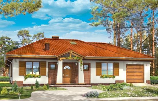 Proiect de casa parter cu patru camere si garaj