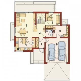 Plan parter casa cu 4 dormitoare