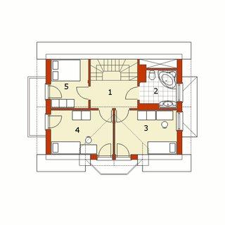 Plan mansarda casa cu 3 balcoane