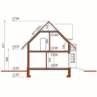 Plan vertical casa cu 3 balcoane
