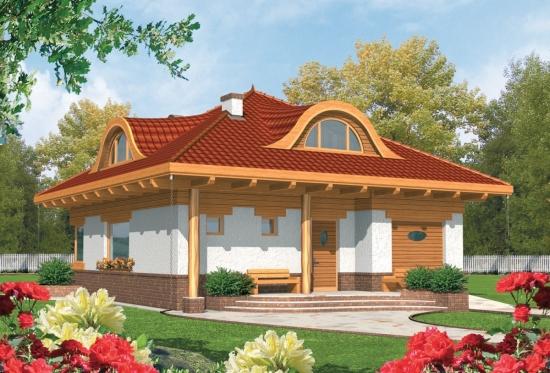 Casa cu acoperis cu lucarne rotunde si arhitectura traditionala
