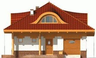 Elevatie casa cu acoperis de mansarda cu lucarne