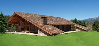 Casa rustica cu acoperis din lemn tratat