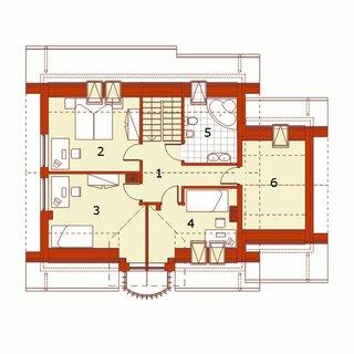 Plan mansarda casa cu 5 camere