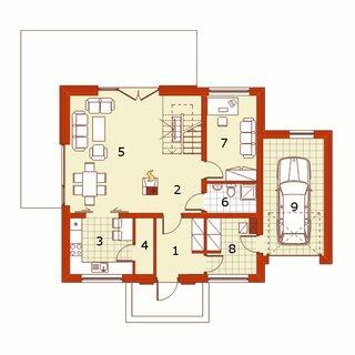 Plan parter casa cu 5 camere