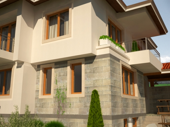 Casa cu doua balcoane la etaj