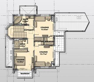 Plan etaj casa cu patru dormitoare