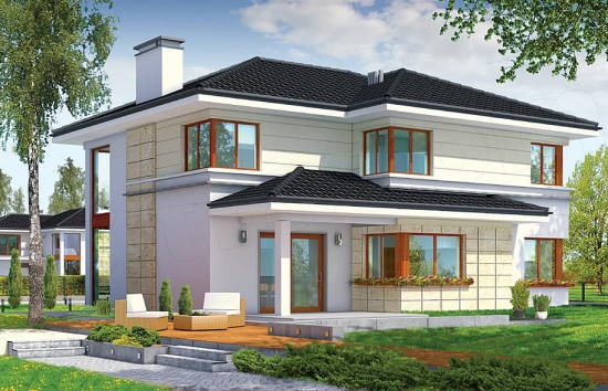 Proiect de casa cu etaj si design contemporan