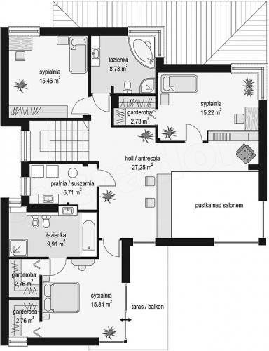 Plat etaj casa cu 4 dormitoare