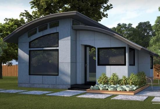Casa prefabricata cu acoperis cu linii curbe