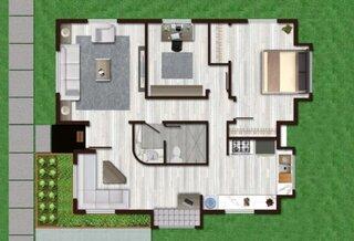 Plan casa parter 70 mp cu 2 dormitoare