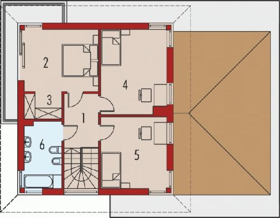 Plan etaj  cu suprafata de 65 mp