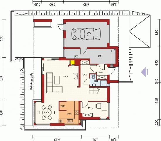Plan parter casa de 130 mp