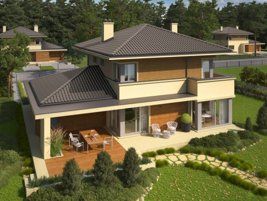 terasa spatioasa acoperita si lipita de casa