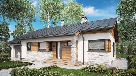 Casa frumoasa cu parter cu fatada din lemn si piatra
