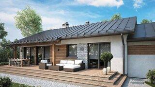 Casa in stil rustic cu fatada placata cu lemn si piatra