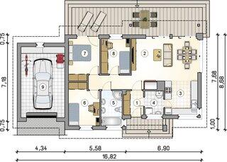 Plan casa parter cu 3 dormitoare suprafata 83 mp