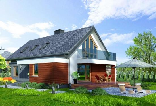 Casa dreptunghiulara cu garaj si mansarda
