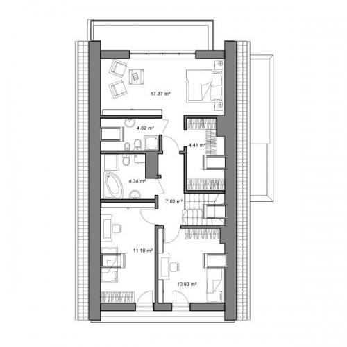 Plan mansarda casa cu 5 camere si dependinte