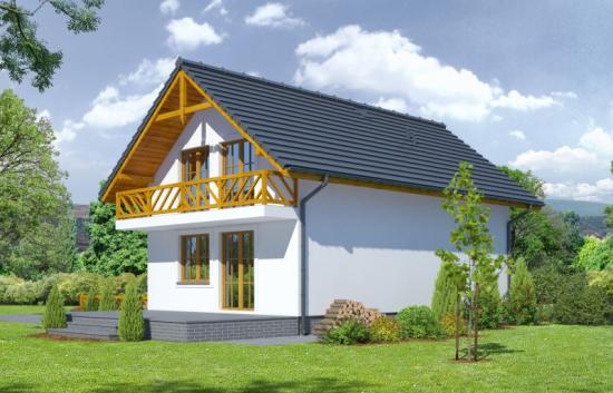 Casa cu balcon din lemn