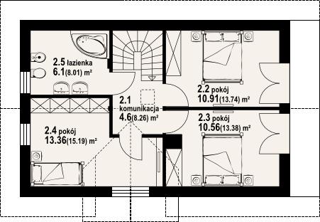 Plan mansarda casa cu garaj la subsol