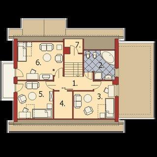 Plan mansarda cu 3 dormitoare