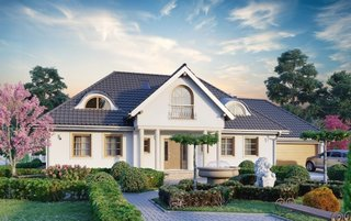 Casa eleganta cu mansarda si coloane la intrare