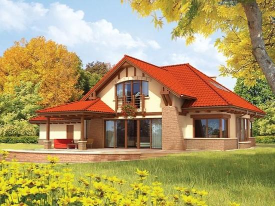 Casa cu terasa acoperita placata cu piatra