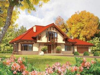 Casa placata cu piatra si acoperis tigla rosie