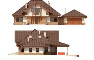 Elevatie fatade casa cu mansarda si garaj