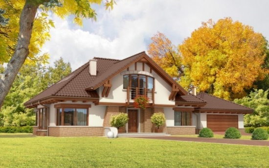 Proiect de casa cu living mare cu semineu - detalii si imagini