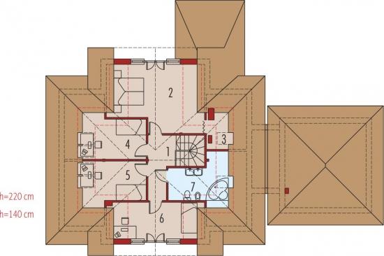 distribuire 4 dormitoare la mansarda