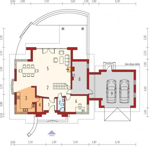 Proiect de casa cu living mare cu semineu detalii si imagini for Proiect casa 2 camere living baie si bucatarie