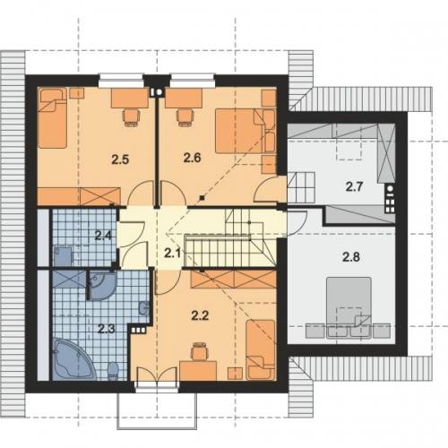 Plan mansarda casa cu 6 camere