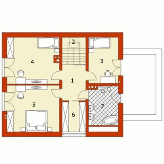 Plan mansarda casa cu garaj alipit