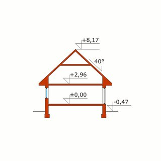 Plan vertical casa cu lucarna la mansarda