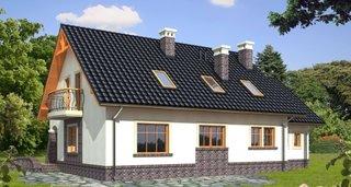 Fatada laterala a casei cu ferestre de mansarda