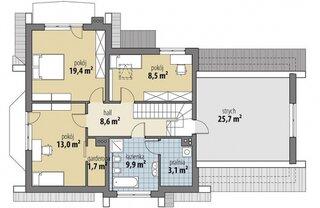 Plan etaj casa cu pod de 25 mp