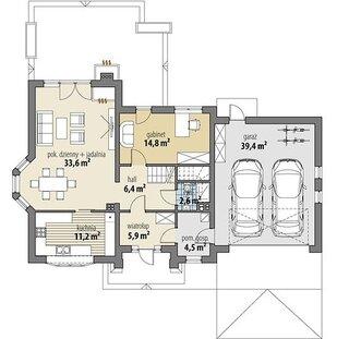 Plan parter casa cu mansarda de 200 mp