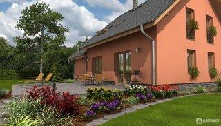 Casa cu mansarda si fatada rosiatica