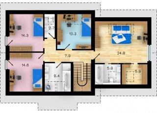 Plan etaj cu 4 dormitoare si o baie