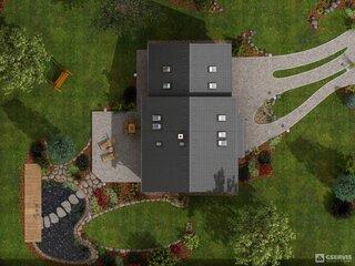 Vedere din spatiu amplasare casa cu mansarda si 4 dormitoare