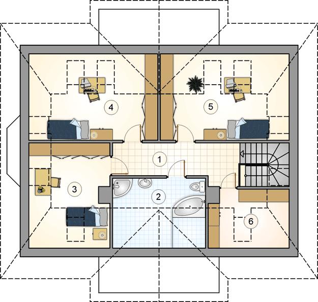 Plan mansarda casa cu 4 dormitoare